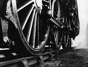 Locomotive wheels, circa 1950, Fox Photos, Getty Images