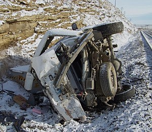 Patrol vehicle hit by train, Sweetwater County Sheriff's Office