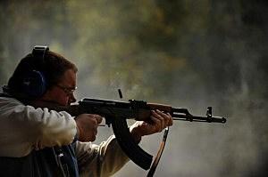 Scott Davis of Chicago, Ill. shoots an AK-47, Matt McClain, Getty Images