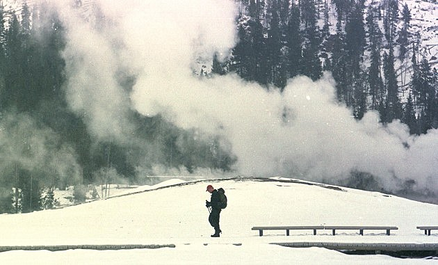 Steam drifts from Old Faithful, Michael Smith, Newsmakers, Getty Images