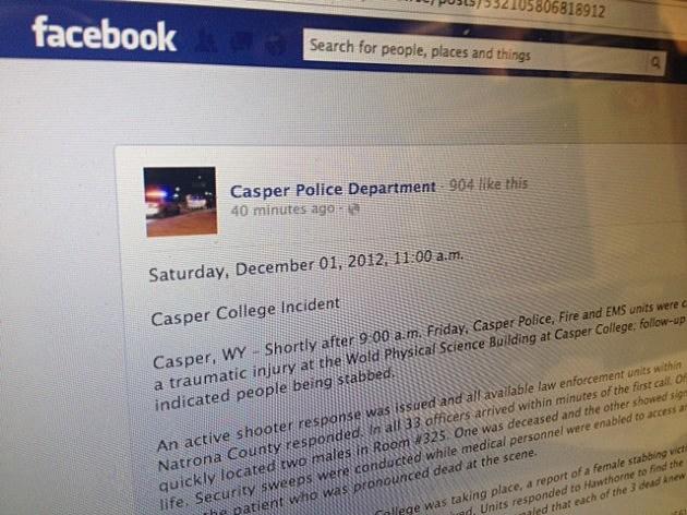 Casper Police Facebook Statement