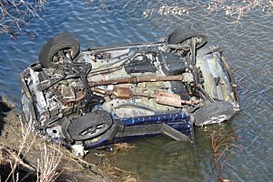 Car In North Platte River