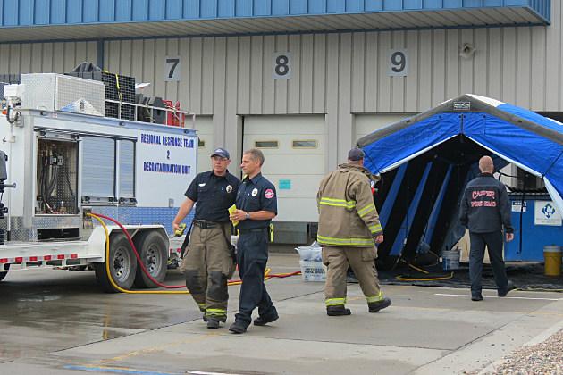 Casper Fire EMS conducting a Bio-Hazard Detection System Event Training at Casper's Post Office.