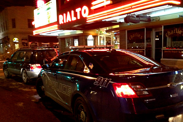 Police car outside Casper's Rialto Theater