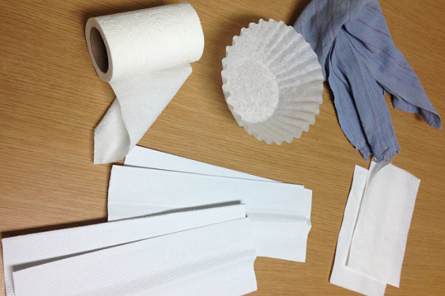 Various rags and paper goods