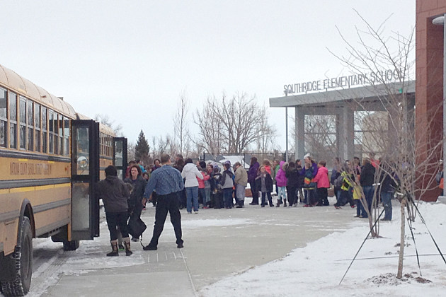 Students line up outside Southridge Elementary school.