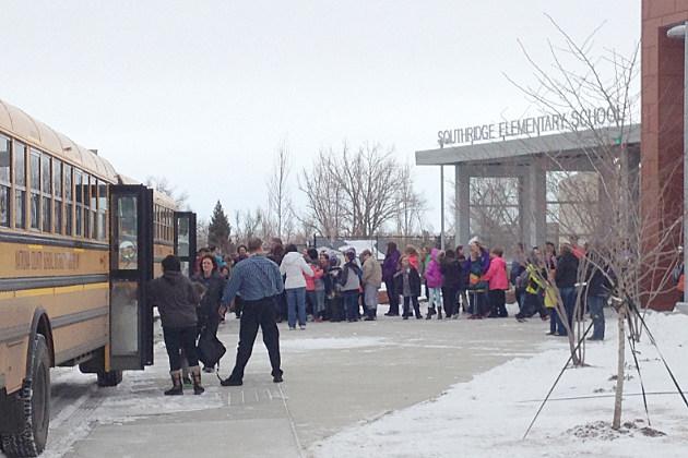 Students line up outside Southridge Elementary school.