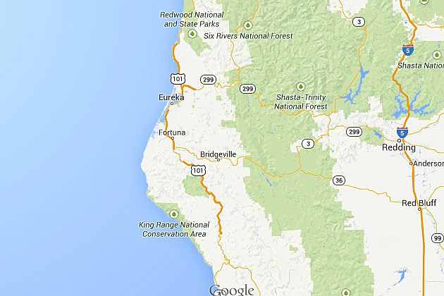 Map of Humboldt County and surrounding areas