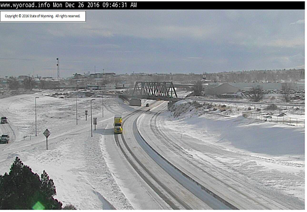 Looking east on Interstate 25 in Casper at 9:46 a.m. Monday. Wyoming Department of Transportation