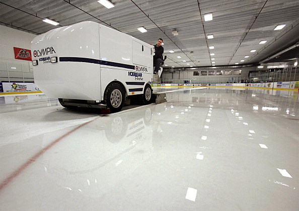 Rob Carrier resurfaces ice at the Portland Ice Arena on Wednesday, March 16, 2011, using a Olympia